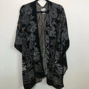 Plus Size Black & Grey Floral Beaded Burnout Velvet Kimono